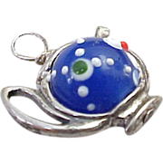 Vintage Sterling Silver Tea Pot Charm with Blue Enamel 1980's