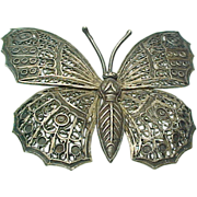 Vintage LARGE Filigree Butterfly Pin