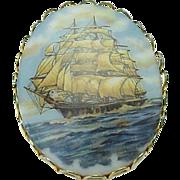 Stunning Vintage Large Ship Pin Gold Tone