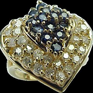 SALE Vintage 14K Yellow Gold Heart Shape Sapphire & Diamond Ring