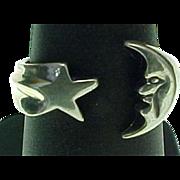 Retired Kabana, Sterling Silver Moon & Star Ring