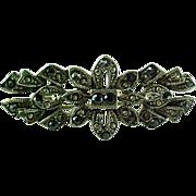 Vintage Silver Black & Silver Marcasite Brooch