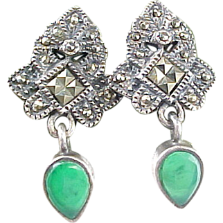 Sterling Silver Marcasite And Chrysoprase Drop Earrings