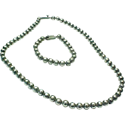 Vintage MEXICO Sterling Silver Ball Bead Chain Matching Necklace & Bracelet