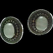 Vintage Sterling Silver, Moon Stone Pierced Post Earrings