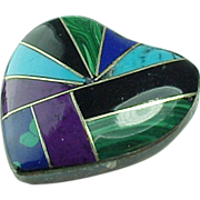 Mexico Sterling Silver Mosaic Inlaid Multi Gem Heart Pendant/Pin