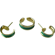 SOLD SOLD OUT OF STORE Vintage Napier GREEN Toe Ring And Matching Earrings