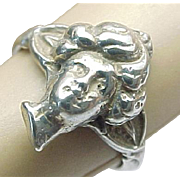 Sterling Silver Art Nouveau Lady's Face Ring