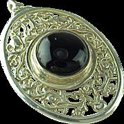Large Filigree Unique Onyx Religious Pendant