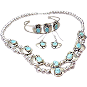 SOLD Vintage Sterling Silver Parure, Necklace, Bracelet, Earrings Turquoise ~ Native American~