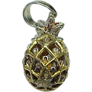 Vintage Sterling Silver /Gold Overlay Pineapple Charm
