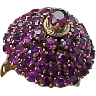REDUCED Vintage 18K Yellow Gold, Pink Sapphire Princess Ring
