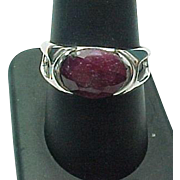 Sterling Silver Unisex 4.00 Carat Natural Ruby Ring
