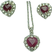 Vintage 950 Platinum Natural Ruby & Diamond Heart & Matching Earrings Set