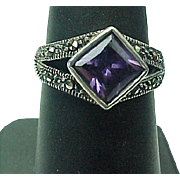 Beautiful Sterling Silver Kite Shape Amethyst & Marcasite Ring