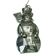 SOLD Sterling Silver Frosty Snowman Ornament By GORHAM