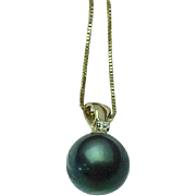 14K Yellow Gold Organic Natural Tahitian Pearl & Diamond Necklace & Matching Pierced Post Earr
