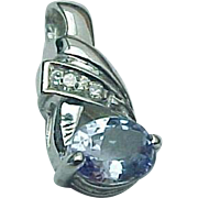SALE 14K White Gold Tanzanite & Diamond Petite Pendant