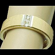 SALE 14K Yellow Gold Textured Wedding Diamond Band