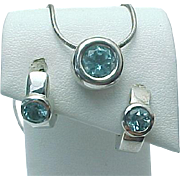 Vintage Sterling Silver, Blue Topaz Bezel Set Necklace And Matching Earrings
