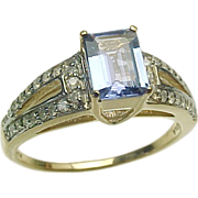 14K Yellow Gold, 1 Carat Tanzanite & Diamond Ring ~ 1980's