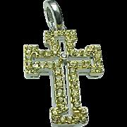 SALE 14K Gold Yellow Sapphire & Diamond CROSS Pendant