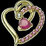 SALE 14K Yellow Gold, Pink Sapphire, White Sapphire & Ruby Heart Pendant