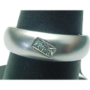 SALE Platinum .18 Carat Princess Diamond Brushed Gold Band