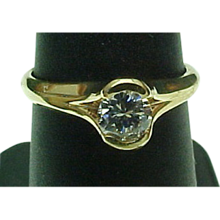 Vintage 14K Yellow Gold Half Bezel Set .33pt  1/3 Carat Round Diamond Solitaire Ring