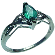 Vintage 10K White Gold .50 Carat Marquis Emerald & Diamond Ring