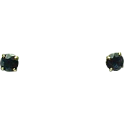 TOURMALINE Solitaire .50 CTW  Stud Earrings 14k Gold