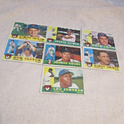 Vintage 1960 Topps Baseball Cards Chicago Cubs Set of 7 cards