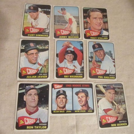 Vintage 1965 topps baseball cards set of 9 st louis cardinals from