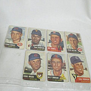 Vintage 1953 Topps Baseball Cards Set of 4