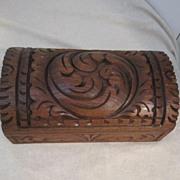 Vintage Wooden Carved Lined Chest