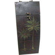 Wood Presentation Box for Wine or Liquor with Hand Painted Palm Trees