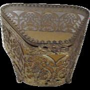 Triangular Shaped Gold Tone Filigree Casket Jewelry Box with Glass Lid