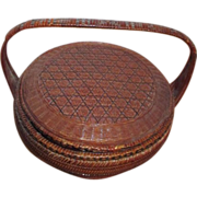 Asian Woven Basket with Fitted Lid and Handle