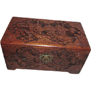 Carved Wood Box with Chinese Ship