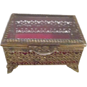 Gold Tone Metal Filigree Casket Box with Glass Top