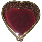 Goldtone Filigree Heart Shaped Casket Jewelry Box with Beveled Glass by Stylebuilt