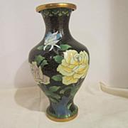 Vintage Collectable Oriental Cloisonne Vase on Brass Metal Base