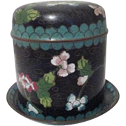 Cloisonne Cigarette Box with Matching Ashtray