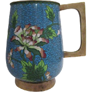 Cloisonne Beverage Mug Blue with Flowers