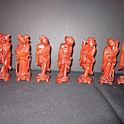 REDUCED Vintage Wood Carvings of 7 Chinese Immortal Gods