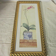 Vintage Water Color Painting of an Orchid in an Oriental Pot Signed by Carolyn Bucia