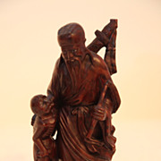 REDUCED Vintage Oriental Wood Carving of Man With Child