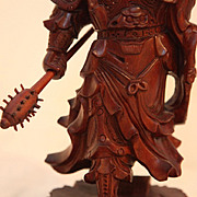 REDUCED Vintage Wood Carving of Chinese Warrior
