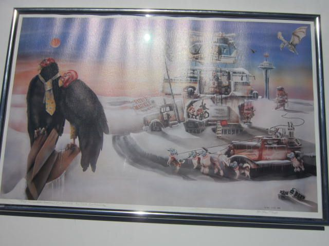 """Vintage Limited Edition Print """"The Suburban Northwest Spotted Vulture Controversy"""" by Paul Sloan"""