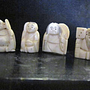 Vintage Carved Netsuke Set of 4